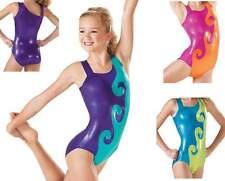 NEW Aly Cyclone Swirl Foil Asymmetrical 2 Tone Gymnastics Leotard Child Adult