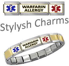 WARFARIN ALLERGY MEDICAL ID 9mm Italian Charm GOLD TONE CTR MATTE Starter Braclt