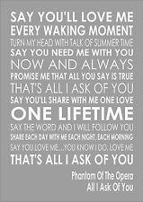 All I Ask - Phantom Of The Opera - Word Typography Words Song Lyric Lyrics Music