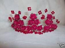 Nuevo Rojo Rosa Con Cristales Rojos / Plata Pearl Tiara
