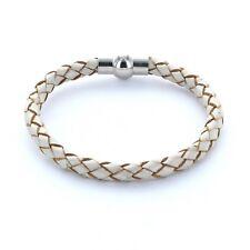 Lieblingsmensch® Armband Lederarmband 0,5cm geflochten Farbe: perlmut metallic