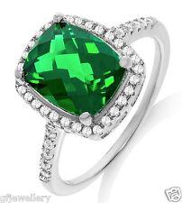 J JAZ 925 HALLMARKED SILVER EMERALD GREEN CHEQUERBOARD CUT HALO ENGAGEMENT RING