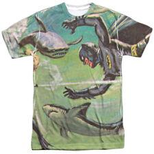 Batman Classic TV Series Shark Fight Drawing Adult 2-Sided Print T-Shirt