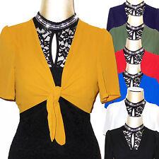 Bolero manica corta donna nero giallo verde blu rosso coprispalle stola D0613