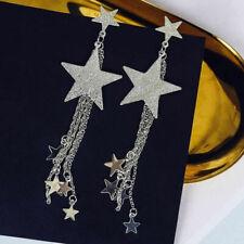 Women Elegant Gold/Silver Pentagram Star Stud Earring Long Tassel Dangle Jewelry