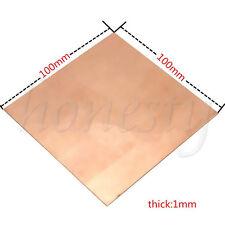 99.9% Pure Copper Cu Metal Sheet Plate 100x100x0.8/1mm For Handicraft Aerospace