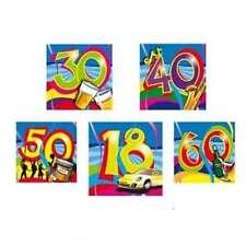20 bunte Servietten Swirls WUNSCHZAHL 18 30 40 50 od 60 Geburtstags PARTY neu
