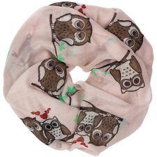 CASPAR SC373 Womens Infinity Scarf / Soft Snood Shawl with Owl Print Accessory