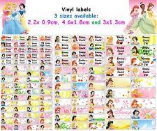 Disney Princess Vinyl Personalised Name Label Sticker school book girl pencil
