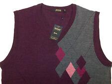 Murano Argyle Burgundy Zegna Baruffa Fine Merino Wool V-Neck Sweater Vest 85 NWT