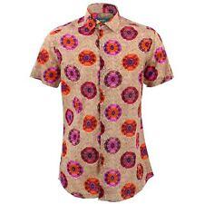 Camisa Hombre Loud Originales Ajustado Caleidoscopio Rojo Retro Psicodélico