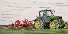 Caterpillar D8, John Deere, David Brown Cropmaster tractor cross stitch kit 14s