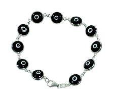 Black Color Evil Eye Luck Bracelet  Real 925 Sterling Silver  ALL SIZES