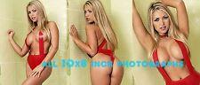 Annette Dawn - 10x8 inch Photo's #m04 in Shiny, Tight Red PVC Leotard