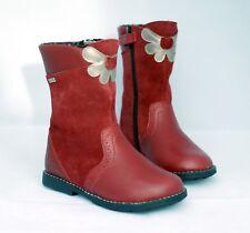 New Girls Start-rite Aqua Flower Girls Boots Dark Red Leather