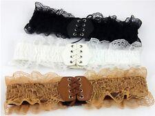 Korean Style Ladies Girls Lace Faux Leather Elastic Stretch Corset Waist Belt