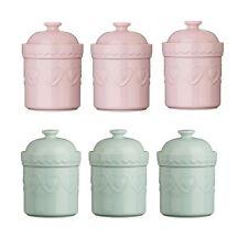 Storage Jars Tea Coffee Sugar Canisters Pastel Stoneware Heart Design Pink Green