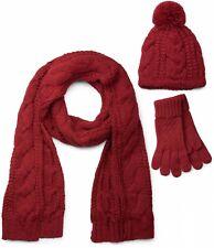 Schal, Mütze, Handschuh Set, Zopfmuster Strickschal Bommelmütze Strickhandschuhe