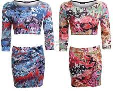New Ladies Cutout 3/4 Sleeves Crazy Funky Graffiti Print Women's Skirt Dress