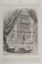 1875-VENEZIA-PALAZZO CAVALLI-GONDOLE-INCISIONE ORIGINALE-Picturesque Europe