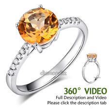 14K White Gold Wedding Engagement Ring 2 Ct Yellow Topaz 0.12 Ct Natural Diamond