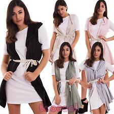 Vestito donna miniabito corto doppio gilet cinta cappuccio maglia nuovo WD-5391
