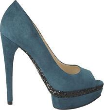 Boutique 9 Nixit Dark Turquoise Green Suede Platform Peep Toe Heel w/glitter NEW