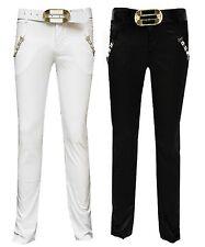 Magen Kids Girl Fashion Dressy Black/White Dance Pants Slim fit W. Belt Sz. 6-12