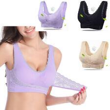 Women Sexy Front Cross Side Buckle Lace Bra Wireless Adjustable Sport Vest Daily