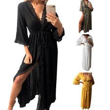 Boho Style Long Dress Women's Sexy V-neck Beach Summer Long Maxi Dress Clubwear