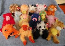 W-F-L TY Punkies Auswahl Teddy Kuh Affe Hund Katze Stofftier Beanie Babies