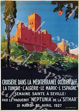 Poster Vintage Mediterráneo crucero Sevilla Turismo A3/A4 impresión