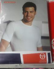 3 T-SHIRT Uomo Cotone Elast. Sergio Tacchini Giroc. Punta Mazza Manica blu bian