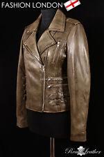 MAXIM Vintage Green Ladies Biker Rock Motorcycle Designer Womens Leather Jacket