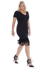 Donna Flapper Fringe 20 S Taglia 16 18 20 Nero Gatsby Festa Abito Da Sera