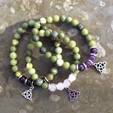 Connemara marble gemstone Celtic tri knot bracelets. Irish Scottish design Jewel