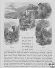 Burg Kropfsberg Schloss Matzen Tirol HOLZSTICH von 1880 Lichtwer