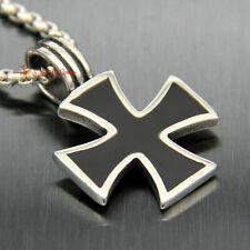 Necklace Chain Pendant Knights Templar Stainless Steel German Iron Cross Men's