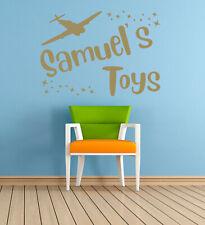 Personalised Name, toys, Aeroplane, Vinyl Wall Art Sticker, Mural, Decal. Kids