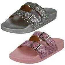 Girls Spot On Synthetic Slip On Glittery Mules