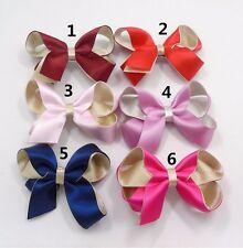 Polyester Satin ribbon 2 layers Silver Glitter hair bows Christmas 2 fork clips