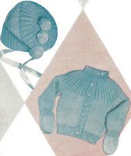 Knitting PATTERN Knitted Baby Sweater Hat Tam Bonnet