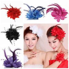 Women Wedding Bridal Flower Headband Hair Clip Feather Barrette Brooch Pin Bling