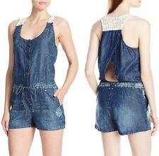 Jessica Simpson Cayo Crochet Lace Back Distressed Denim Romper w/Pockets $69
