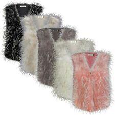 femmes FAUSSE FOURRURE PLUME Gilet veste fashion UK TAILLE 8-14