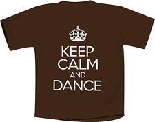 Keep Calm And Dance T Shirt Brown