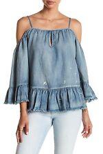 Blank NYC Off the Shoulder Cold Shoulder Blue Denim Shirt Next In Line $88 NWT