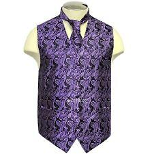 New Brand Q Men's formal Paisley vest tuxedo waistcoat Neck tie Purple wedding