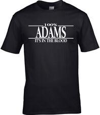 Adams Apellido Camiseta Hombre - 100% Adams Regalo Nombre Familia Fiesta