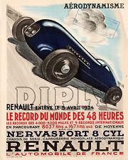 REPRO AFFICHE RENAULT RECORD DU MONDE 1934 AERO SUR  PANNEAU MURAL EN BOIS HDF